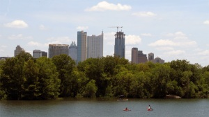 The growing Austin skyline over Lady Bird Lake