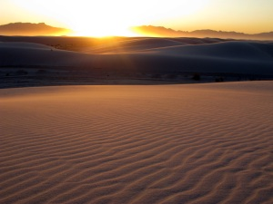 Sunset over White Sands National Monument.