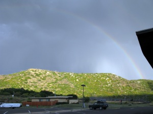 Rainbow over the campground at Mesa Verde, powerful thunderstorms the night before.