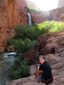 Caro gazing at the falls.